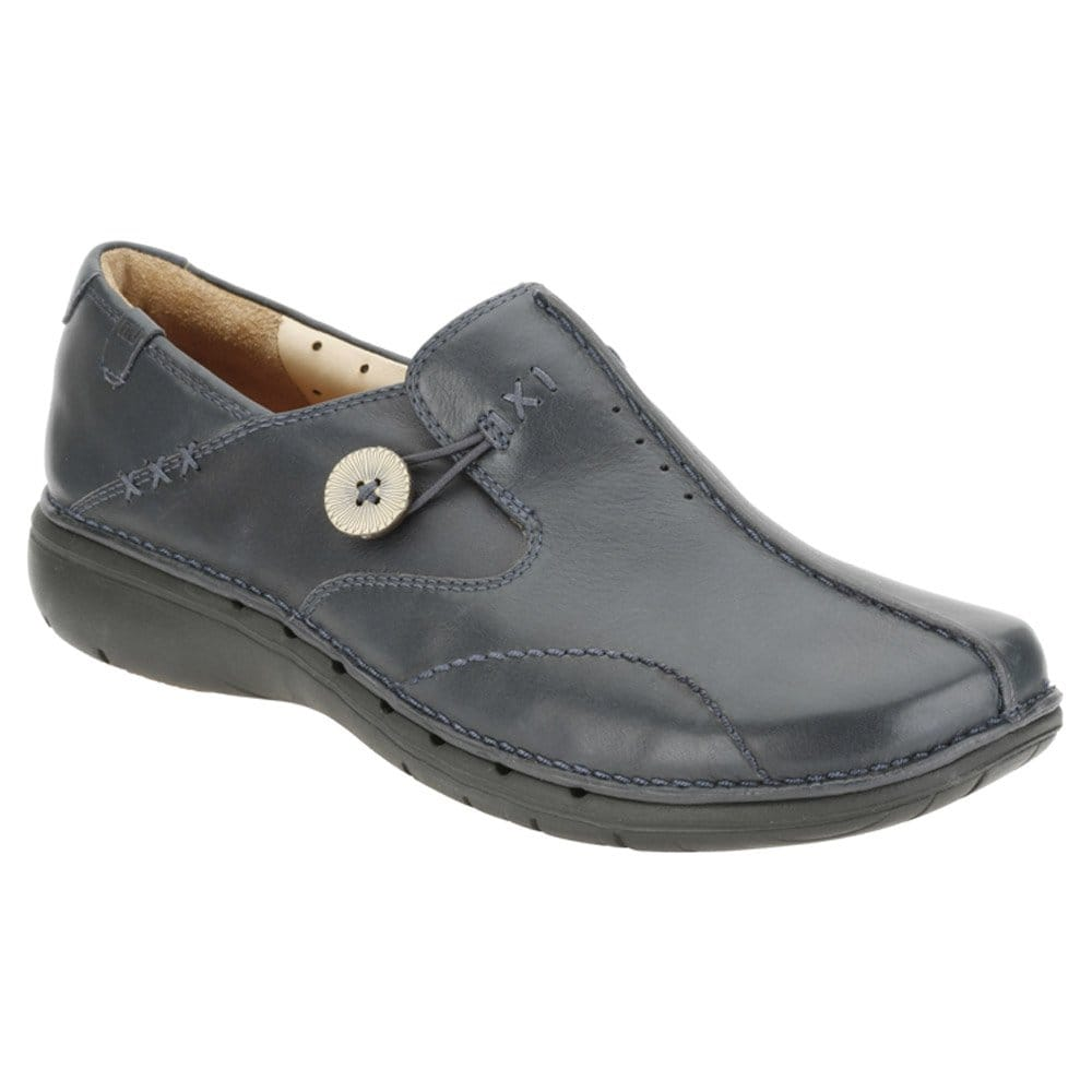 clarks un loop womens shoes navy leather charles clinkard