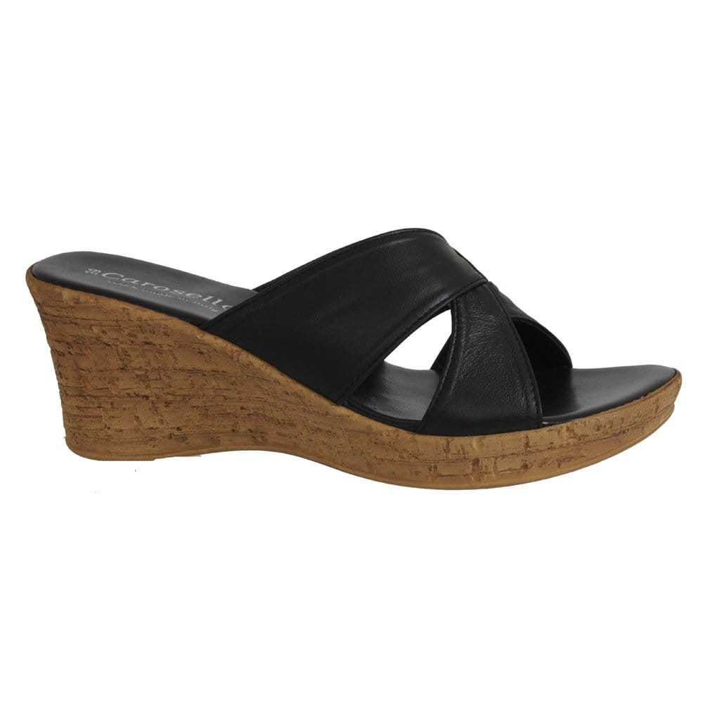 348041378 Soludos Leather Mule Wedges In Black Wedge Mules: Carosello Carosello Clone  Wedge Crossover Leather Ladies