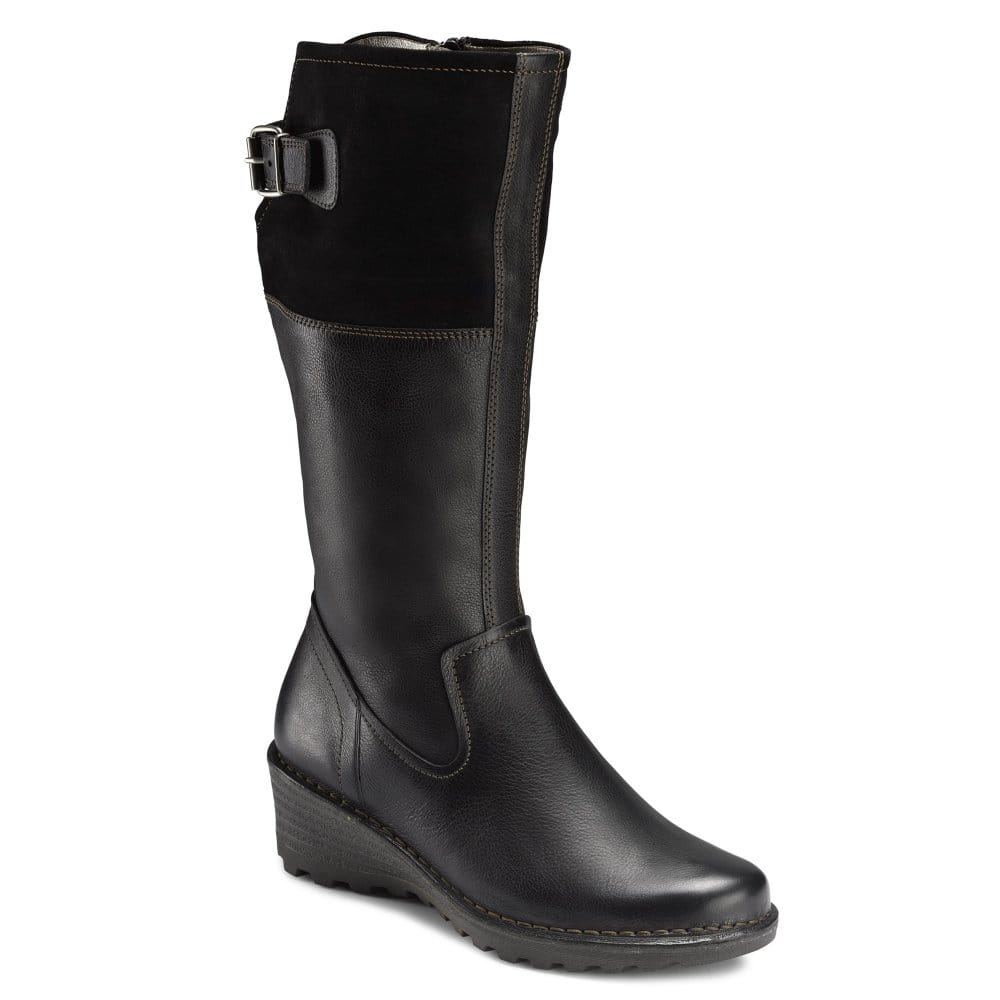charles clinkard ecco view wedge heel leather boots