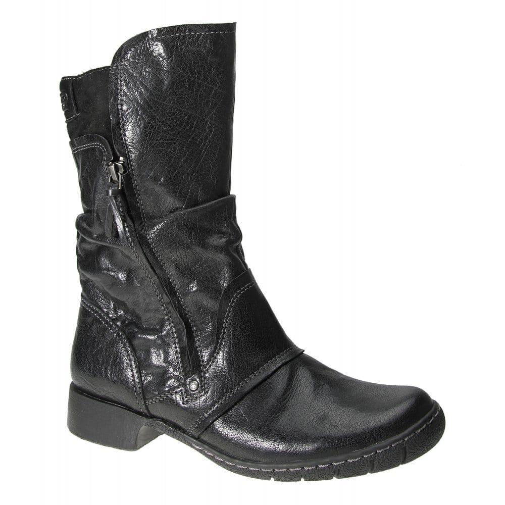camel active slick mid calf wrinkled leather women 39 s boots. Black Bedroom Furniture Sets. Home Design Ideas