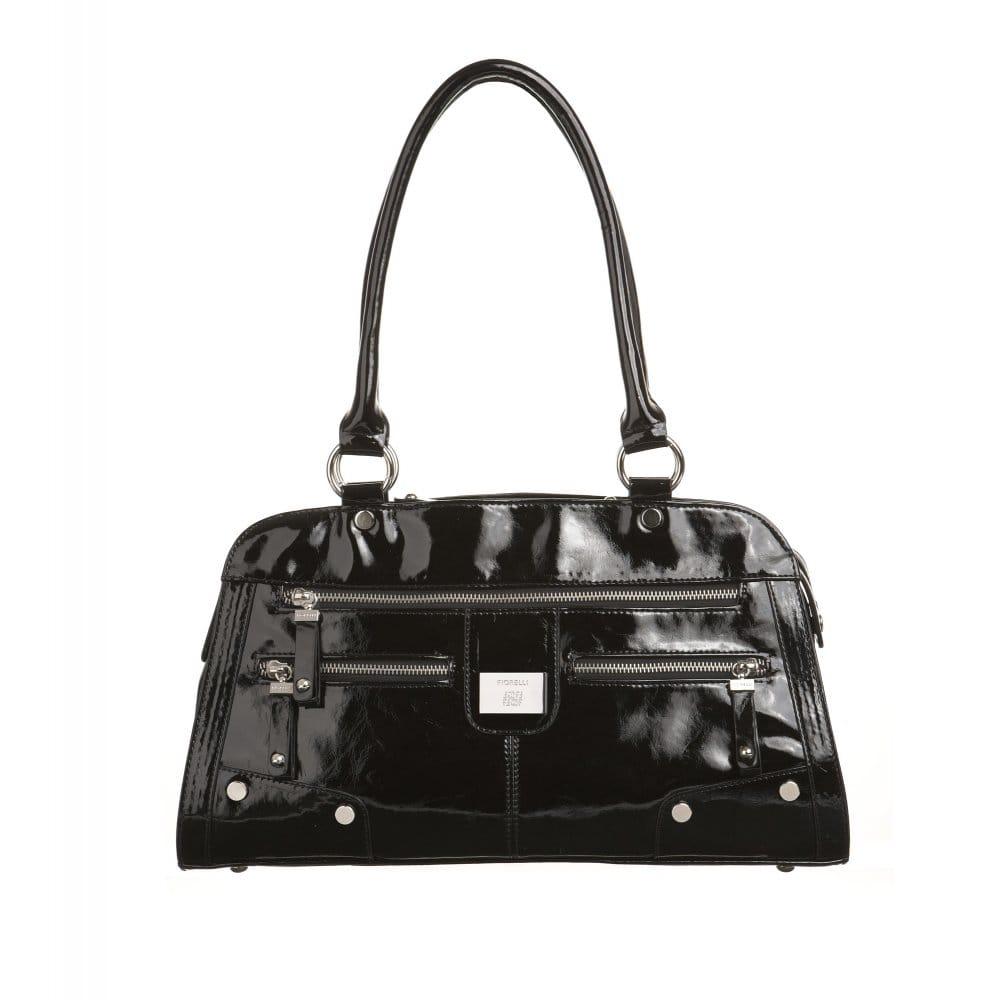 fiorelli bailey ladies black patent handbag fh6461