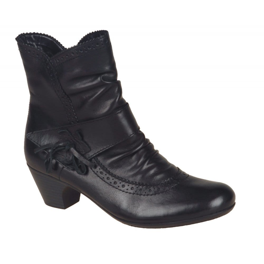 Rieker Pearl Ladies Graphite Leather Ankle Boot 70581