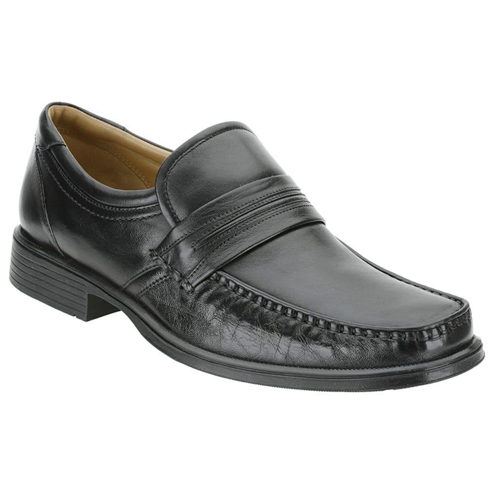 clarks hook work mens slip on black leather shoes