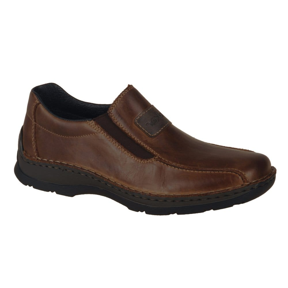 Rieker Artus Mensu0026#39; Slip On Brown Leather Shoes - Rieker From Charles Clinkard UK