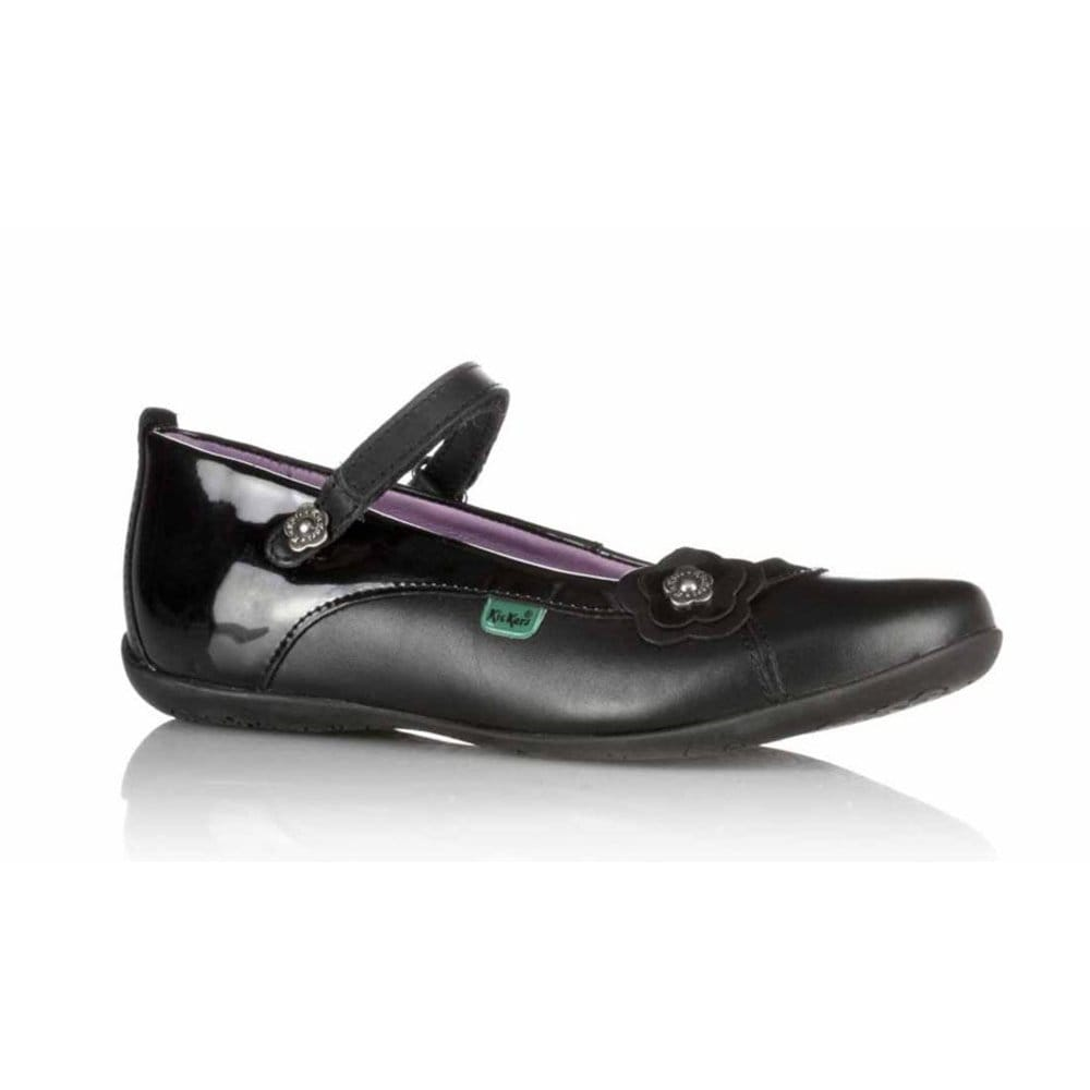 kickers raveena flip strap girls black leather school