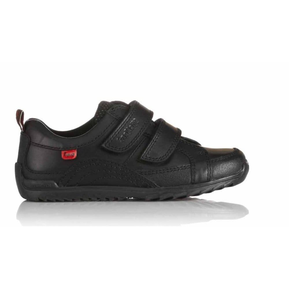 Kickers Sawtooth Strap Boys Black Leather School Shoes