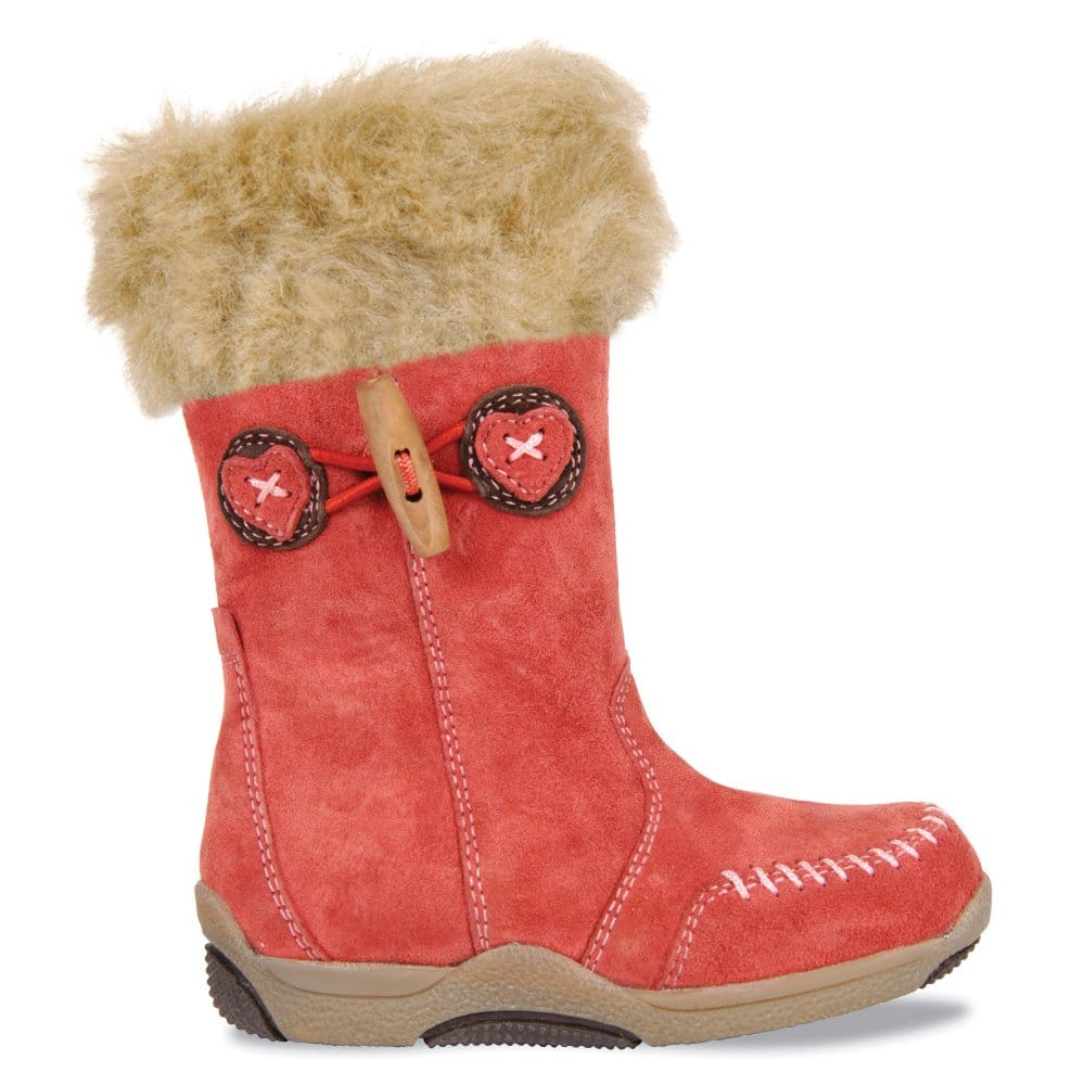 hush puppies macaroon pink fur trimmed boots 33315