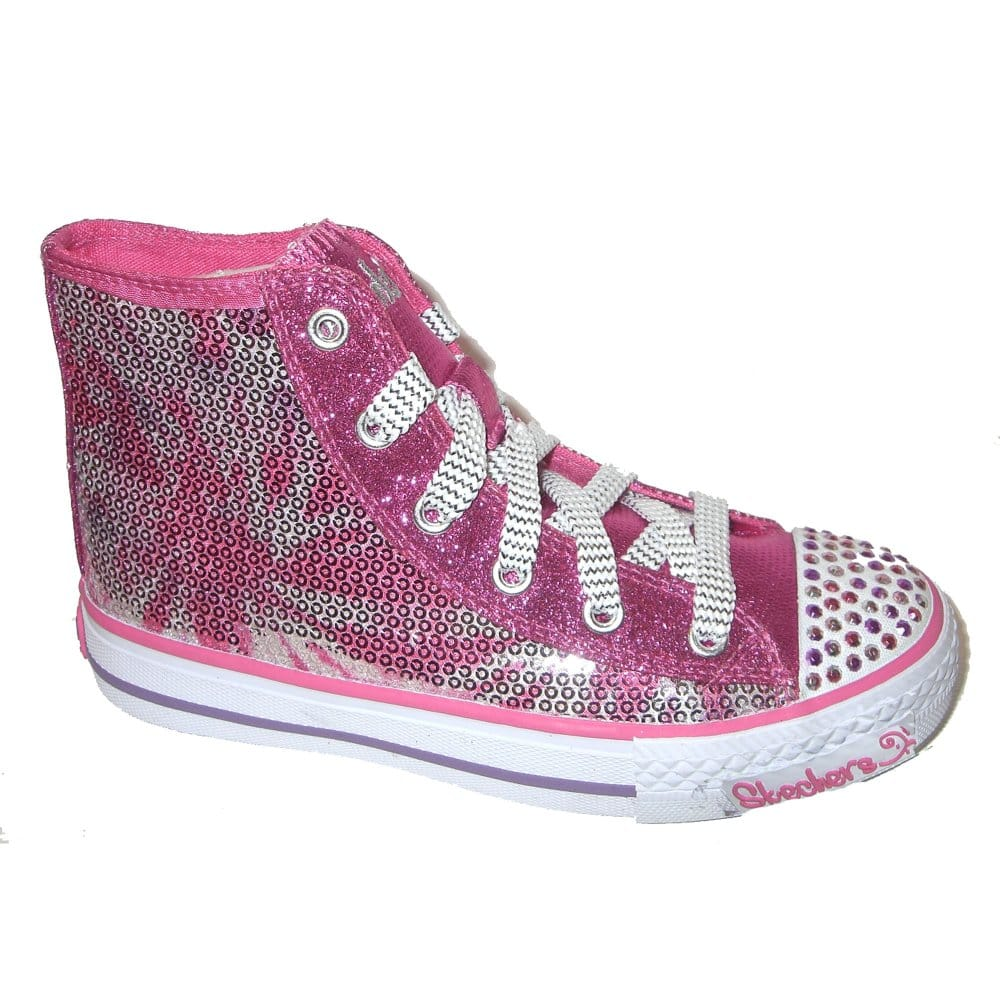 skechers glimmered peace pink sequin canvas