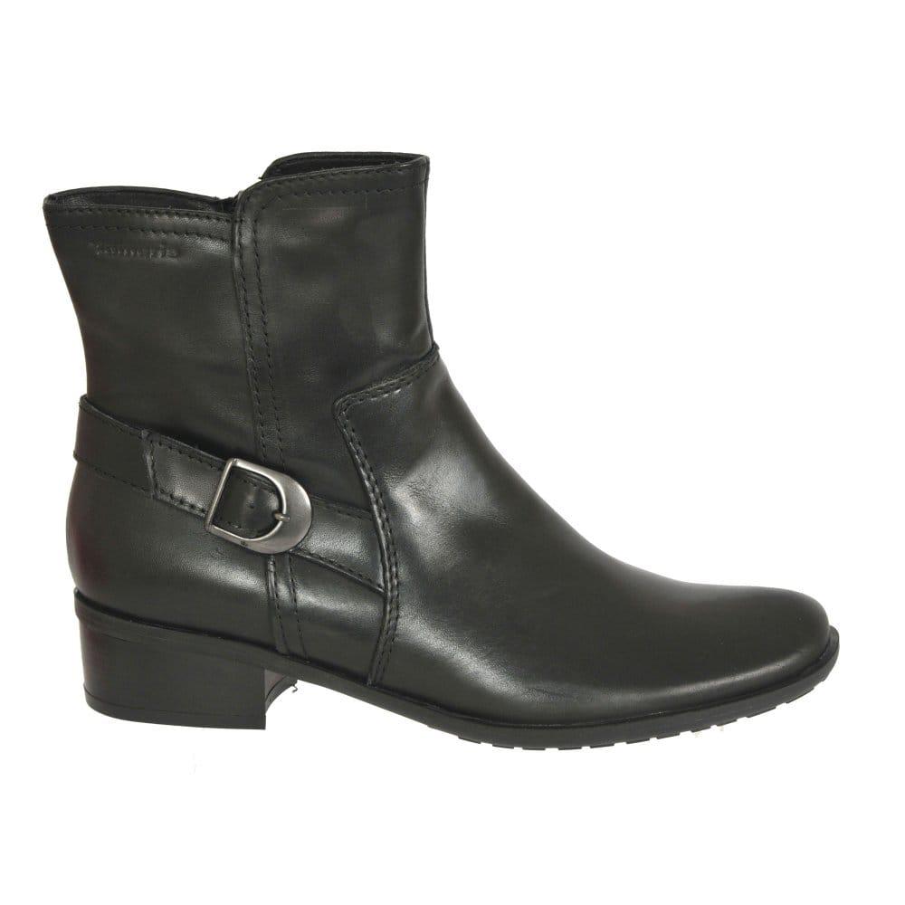tamaris luna ladies black leather ankle boots tamaris. Black Bedroom Furniture Sets. Home Design Ideas