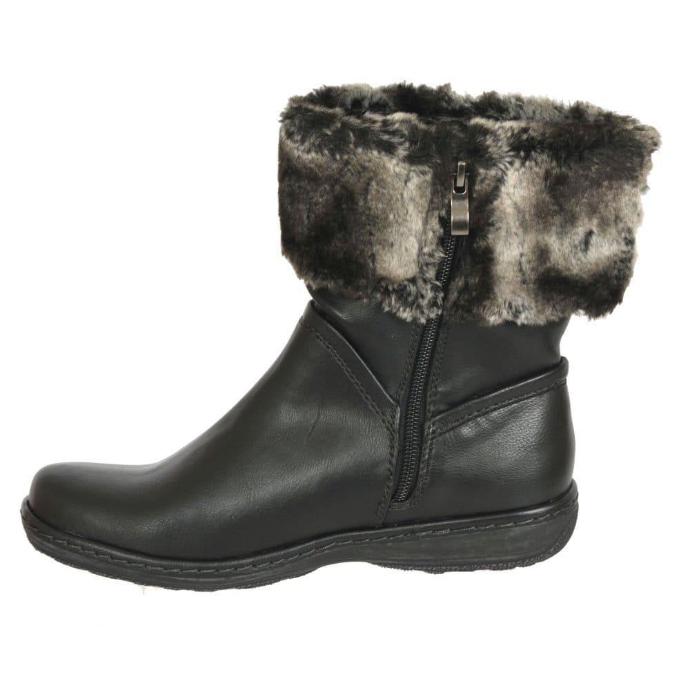 marco tozzi vixen fur cuff ankle boots marco