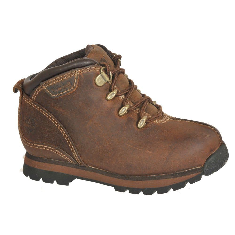timberland splitrock brown leather junior boys boots