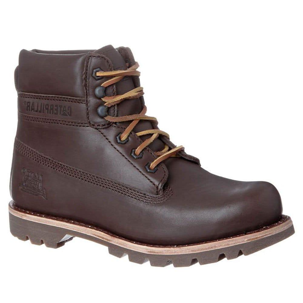 cat colorado premier mens brown leather lace up boots