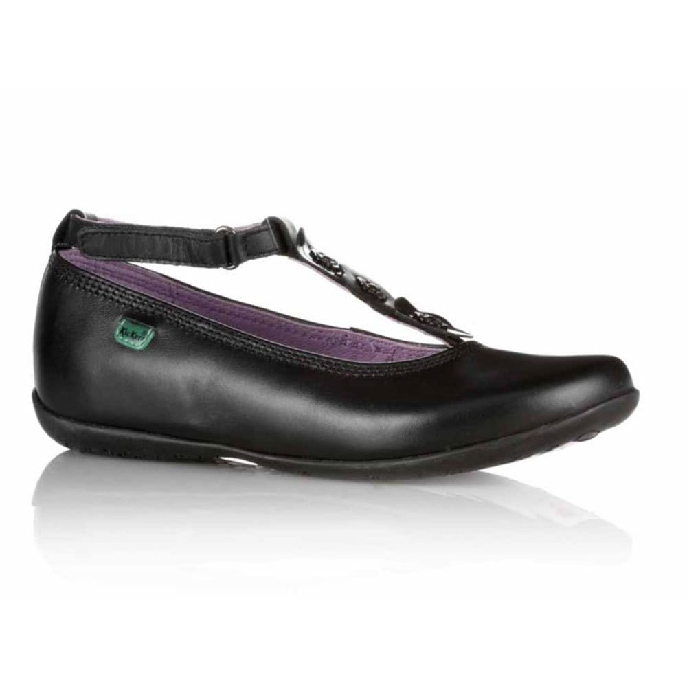 kickers raveena petal girls black leather school shoes