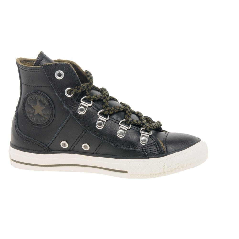 converse boys black leather hi cut sneaker boot