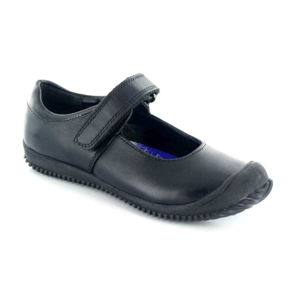 buckle my shoe crocco black leather school shoes
