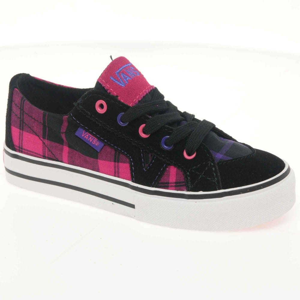 Vans Vans Tory Junior Black Plaid Canvas Lace Up Girls ...