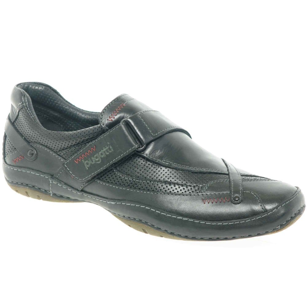 bugatti leather cross velcro mens casual shoes