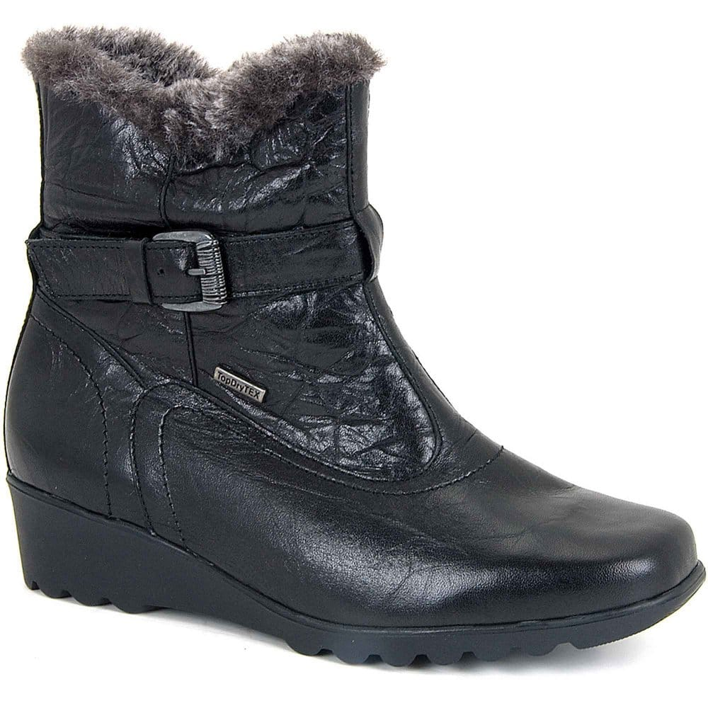 josef seibel bliss womens fur lined low wedge ankle boots
