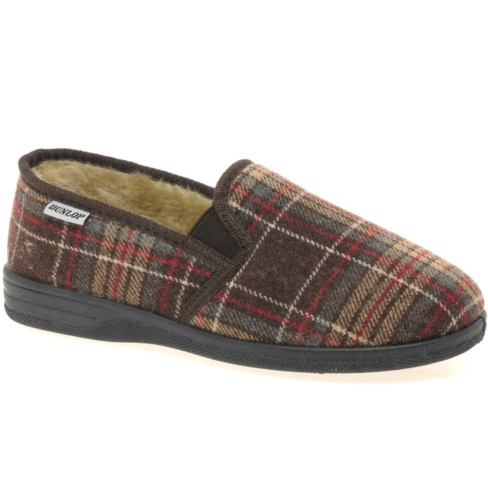 Mens Dunlop Check Patterned Faux Fur Lined Slippers Warm Comfortable