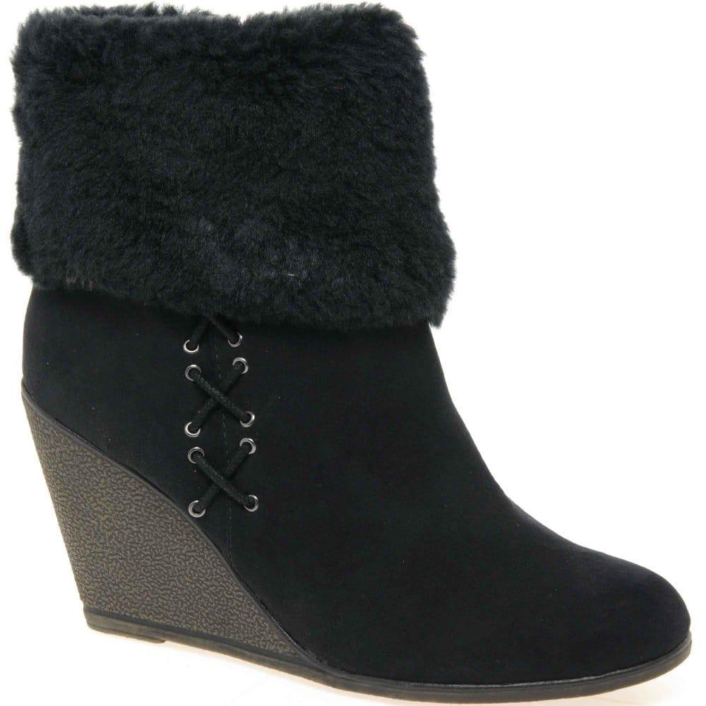lunar vouvray faux fur cuff ankle boots lunar