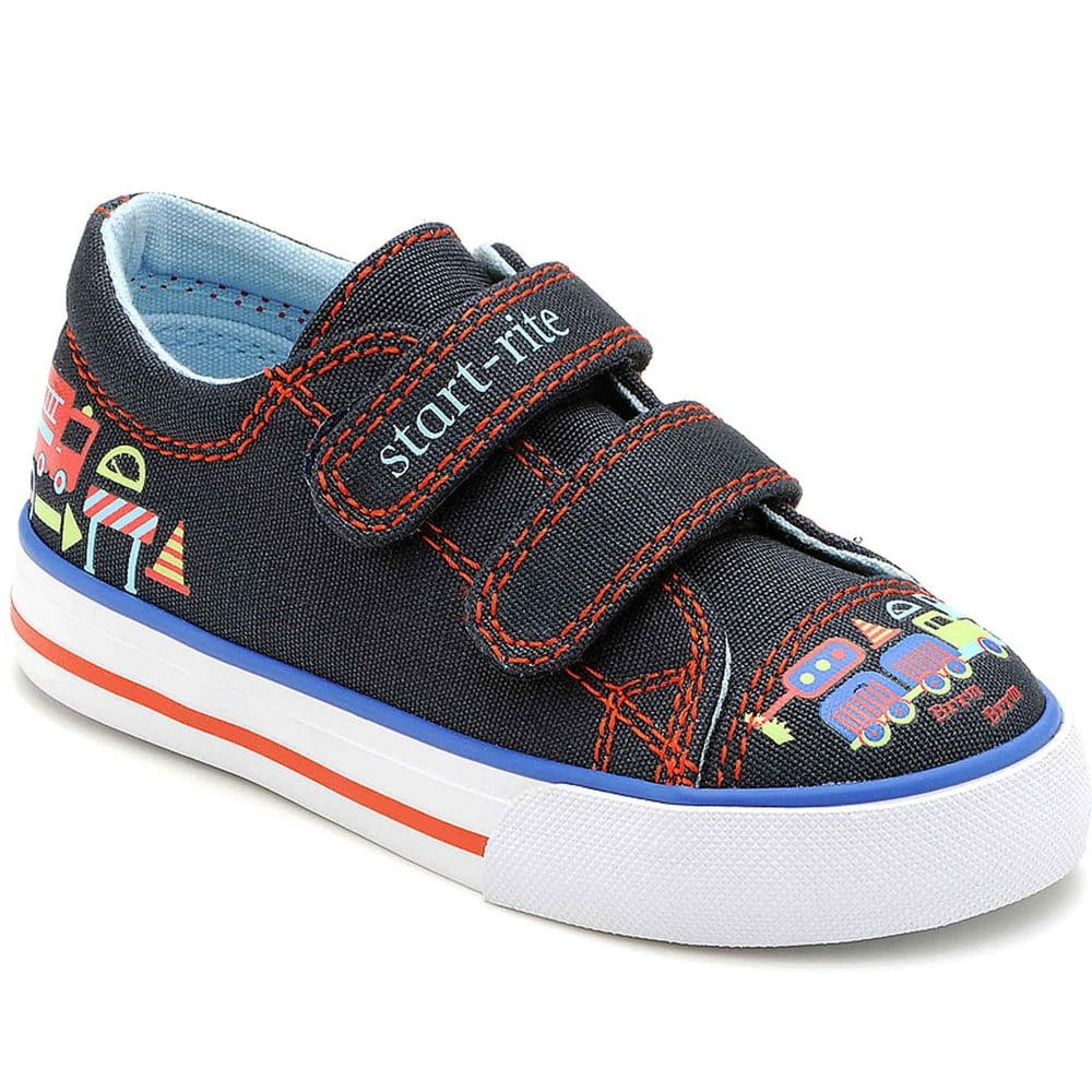 startrite road works boys velcro canvas shoes