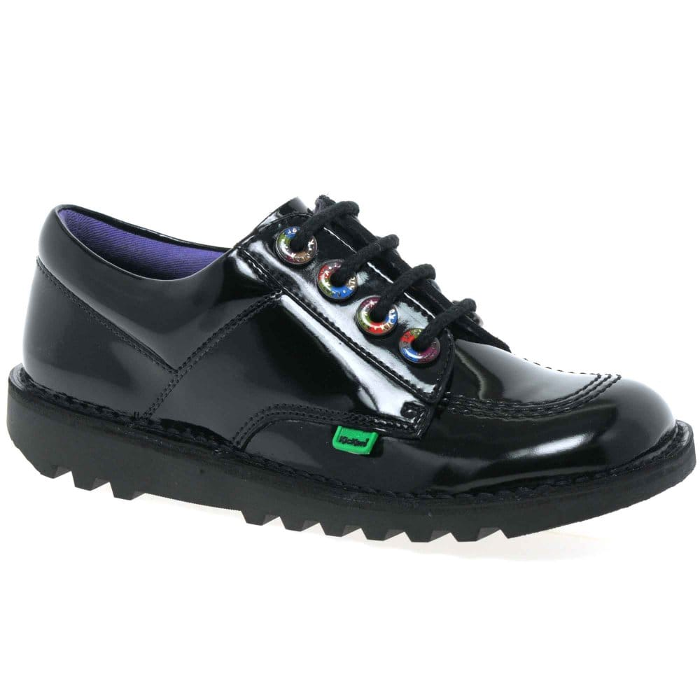kickers lo rainbow shoes black patent charles clinkard
