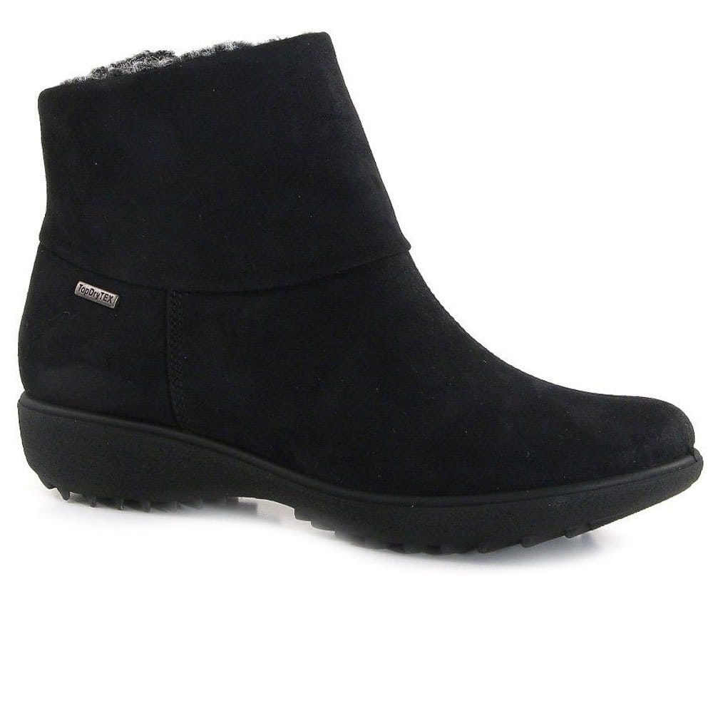 romika black waterproof suede look ankle boot