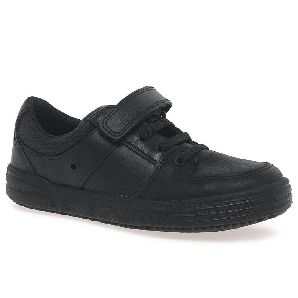 Boys Clarks Chad Slide Black Leather School Shoes