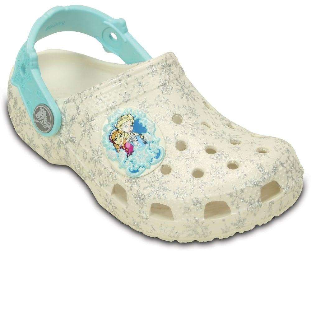 Crocs Classic Frozen Girl's White Clogs | Charles Clinkard