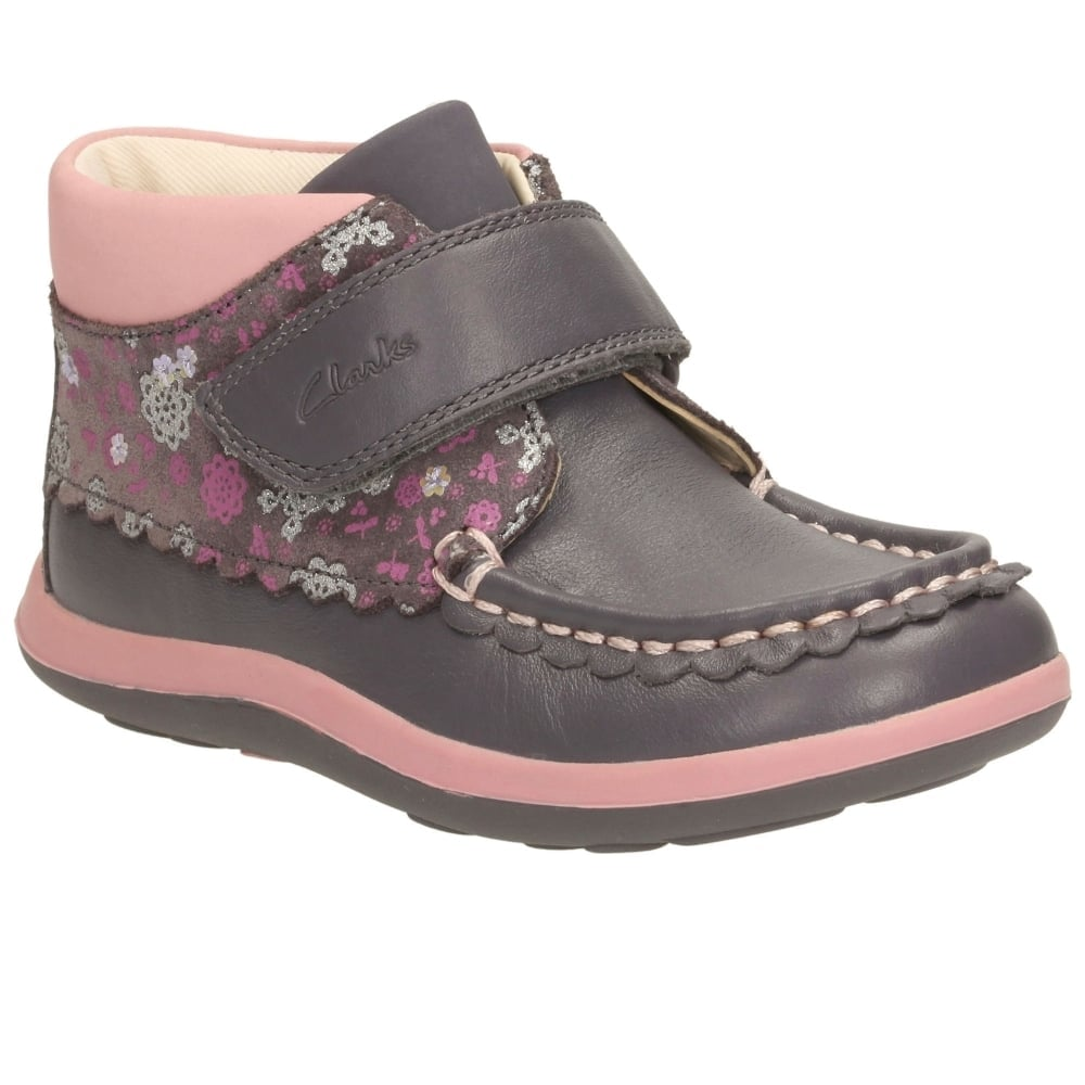 Clarks Alana Lyn Girls First Grey And Pink Boots Charles Clinkard Camel Leather