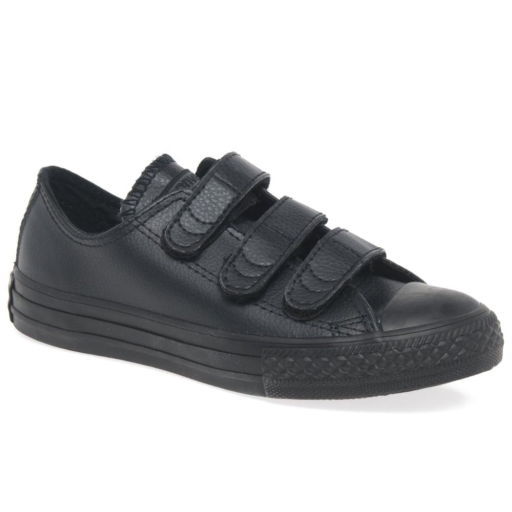 boys black leather converse