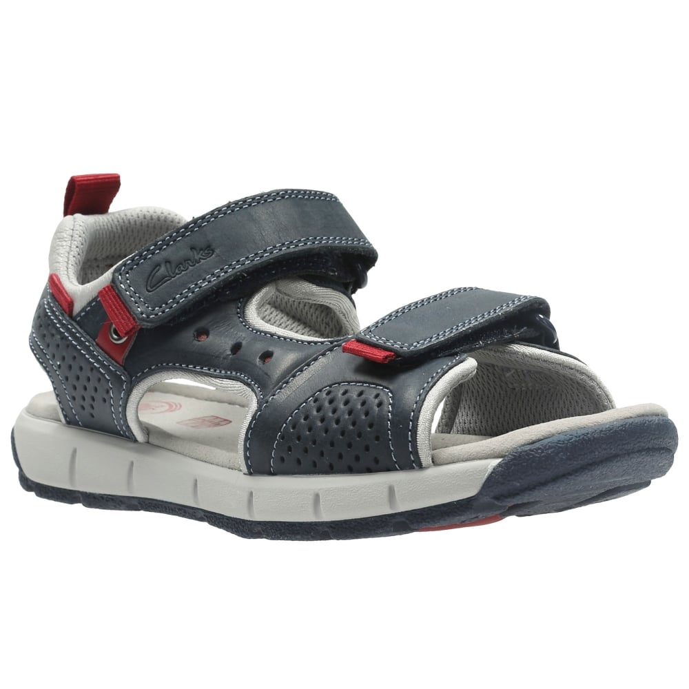 Clarks Jolly Wild Junior Boys Navy Leather Sandals