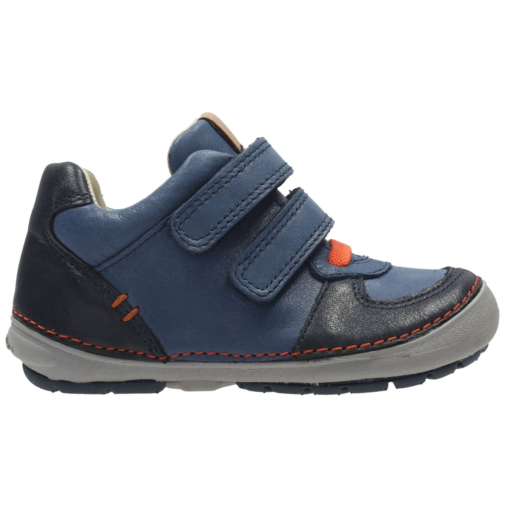 INFANTS BOYS CLARKS LEATHER RIPTAPE STRAP CASUAL TRAINERS SHOES SIZE SOFTLY POW
