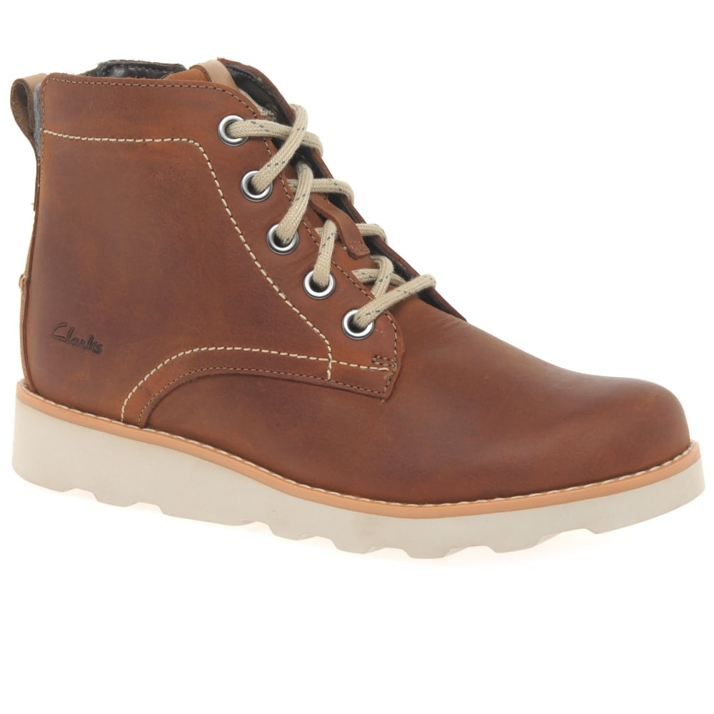 BOYS CLARKS BOOTS DEXY TOP TAN LEATHER