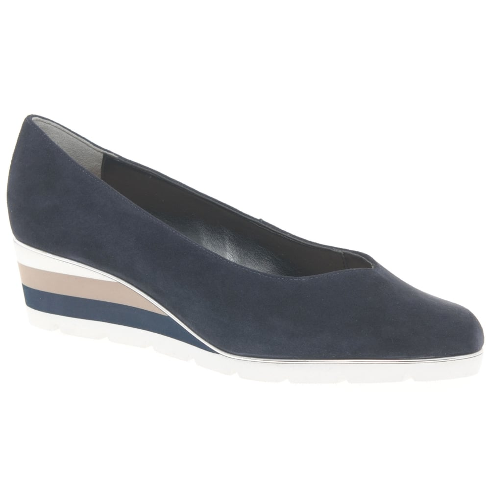 Van Dal Ariah Lunar Print Leather Wedge Shoes
