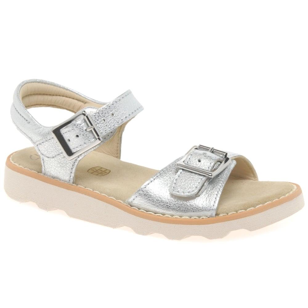 Girls Clarks Silver Sandal Crown Bloom