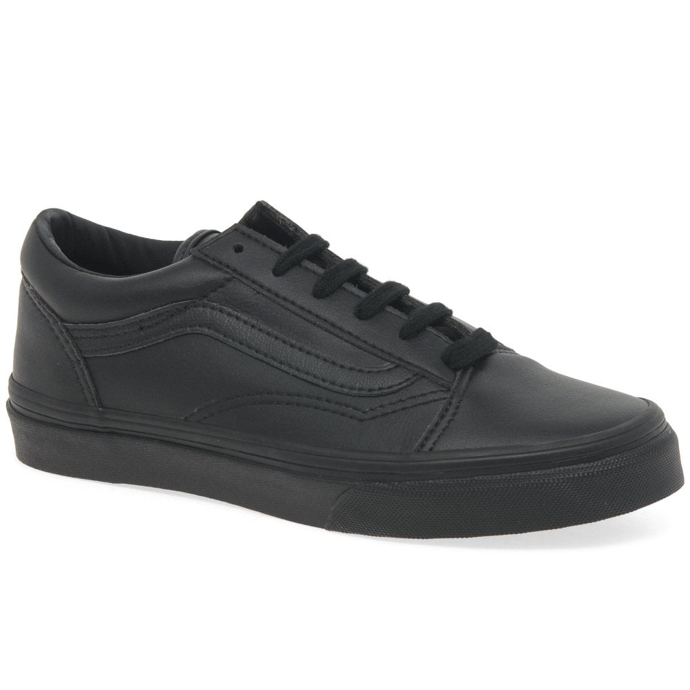 Get - vans black leather school shoes