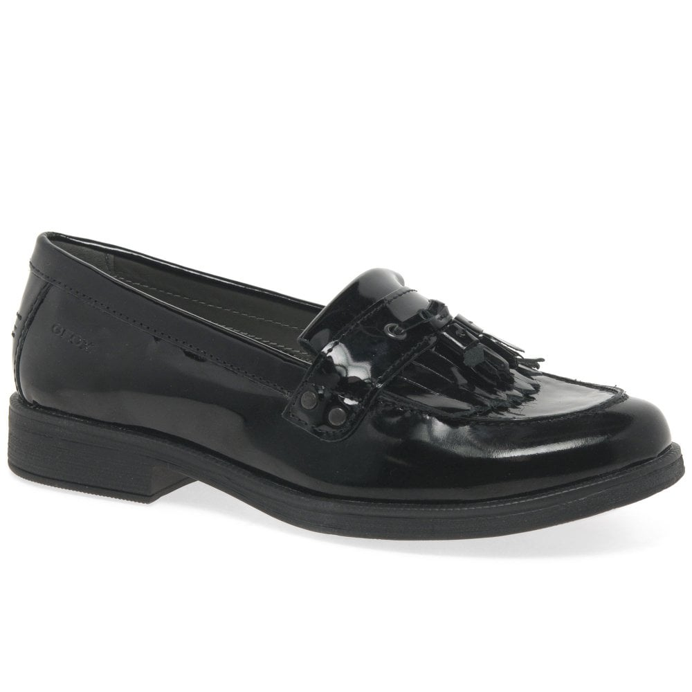 Prever Respetuoso Abuelo  Geox Agata Tassel Girls Black Leather Loafers   Charles Clinkard