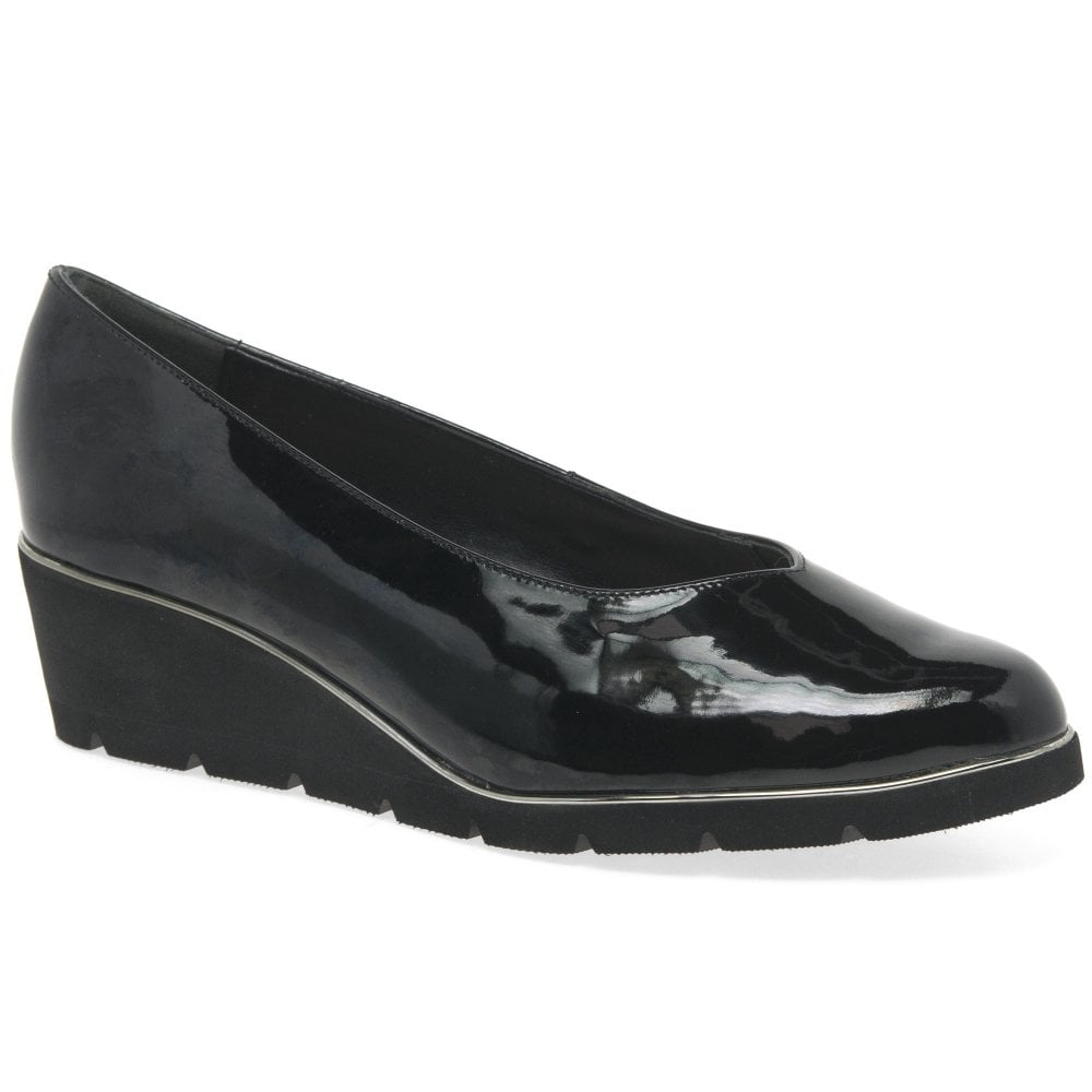 Van Dal Ariah Womens Patent Leather Wedge Heel Court Shoes 8ac26e7f551