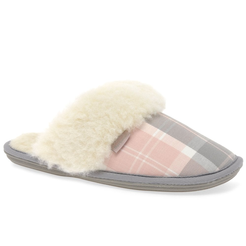 Barbour Lydia Nule Womens Warm Lined Slippers Colour: Pink/Grey Tartan