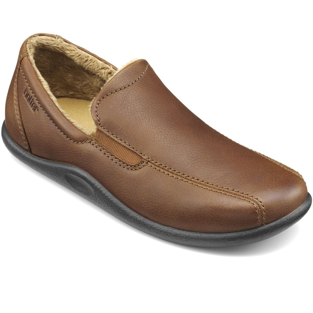 Hotter Relax Mens Warm Lined Leather Slippers Colour: Dark Tan, Size: