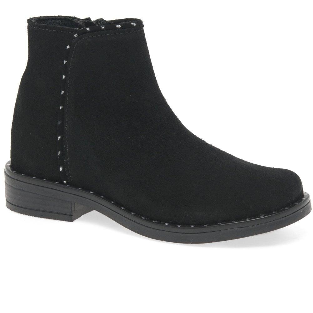 Elisabetta Girls Black Suede Metallic Trim Ankle Boots