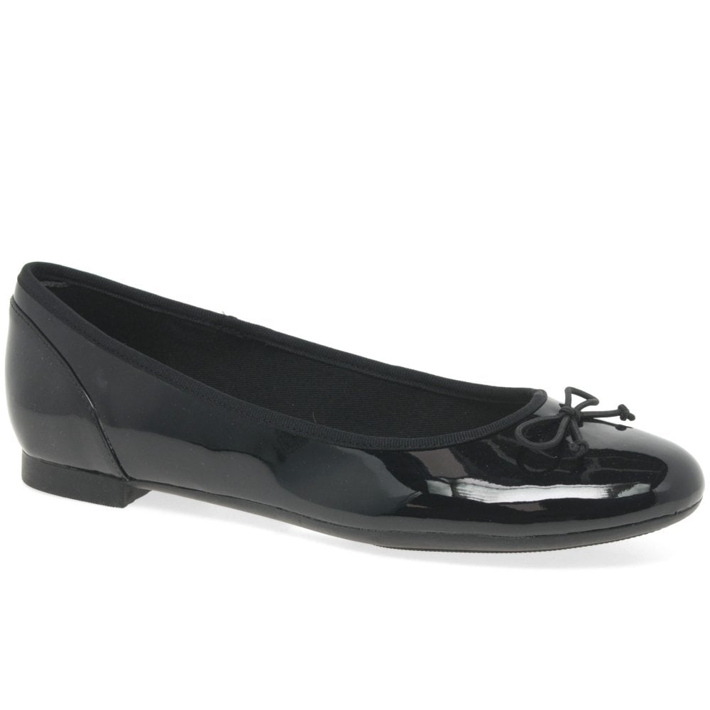 D Fit Clarks /'Couture Bloom/' Ladies Black Patent Casual Ballerina Shoes
