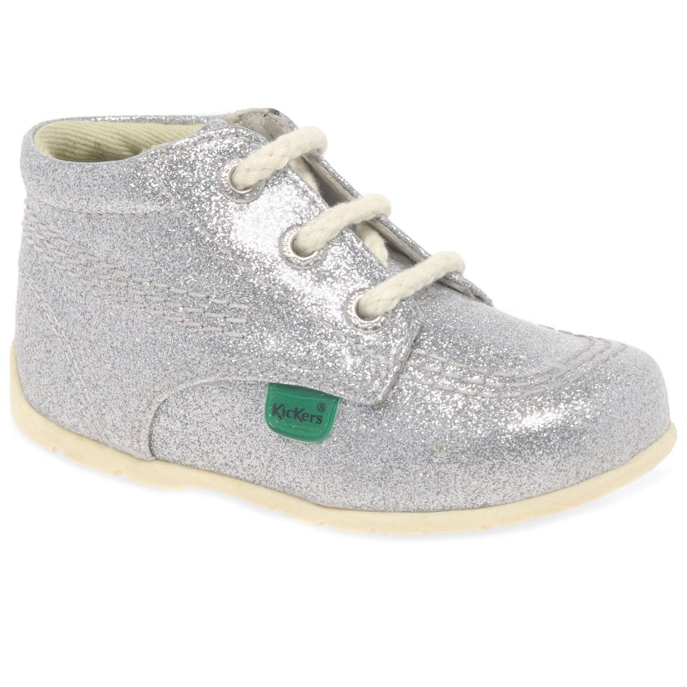 Kickers Hi Baby Silver Glitter Girls