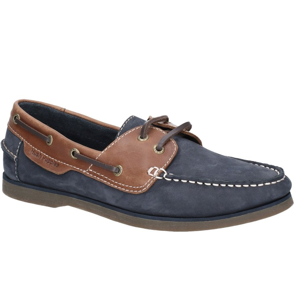 Hush Puppies HENRY Mens Leather Lace Up Boat Casual Deck Shoes Navy Blue Tan