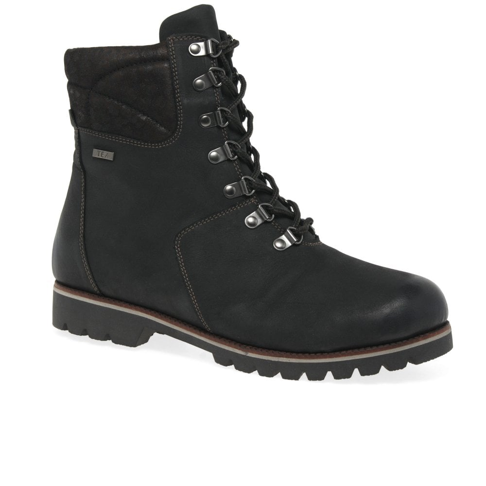 Caprice Womens Ladies Soft Leather Zip Lace-Up Warm Casual Wedge Boots Black