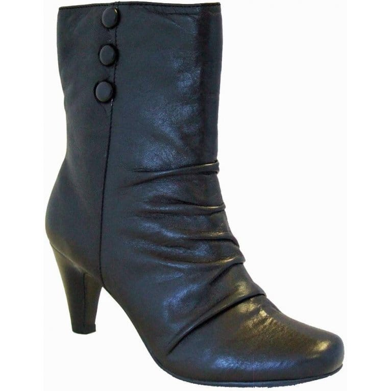 Lotus Clermont Black Leather Wide Calf Boots