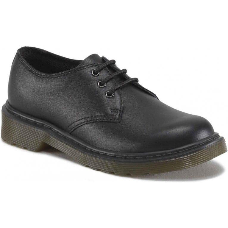 Dr. Martens Everly Kids Black Softy T Leather Shoes