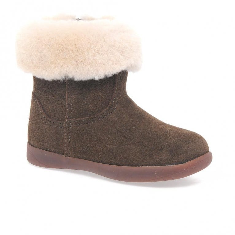 UGG Jorie II Girls Infant Suede Sheepskin Collar Ankle Boots