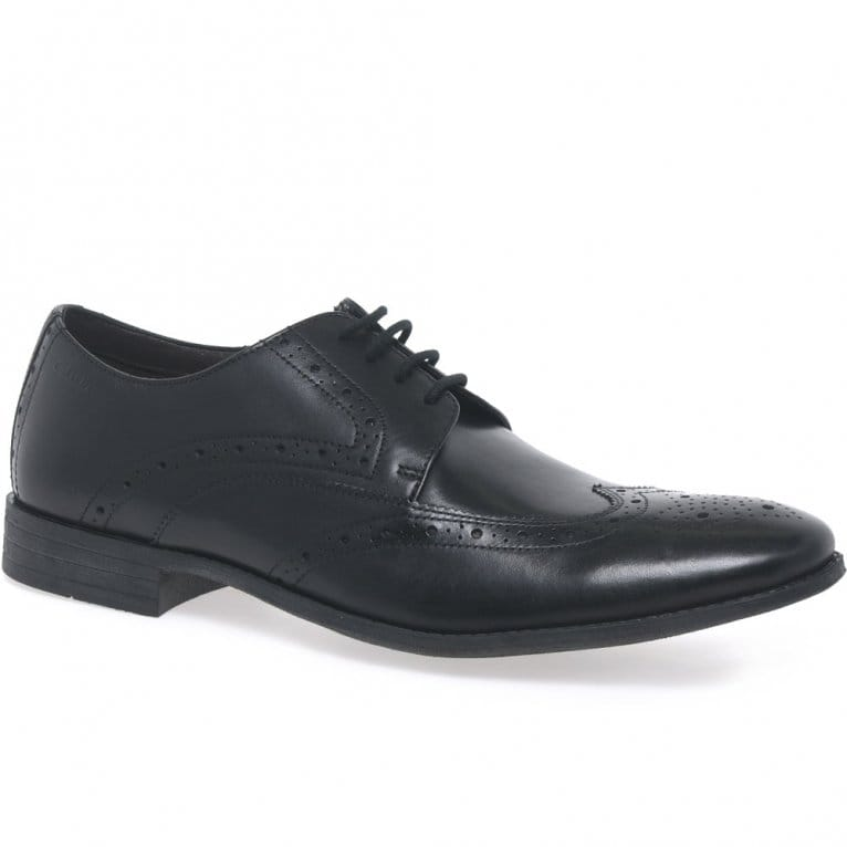 Clarks Chart Limit Mens Black Leather Brogues